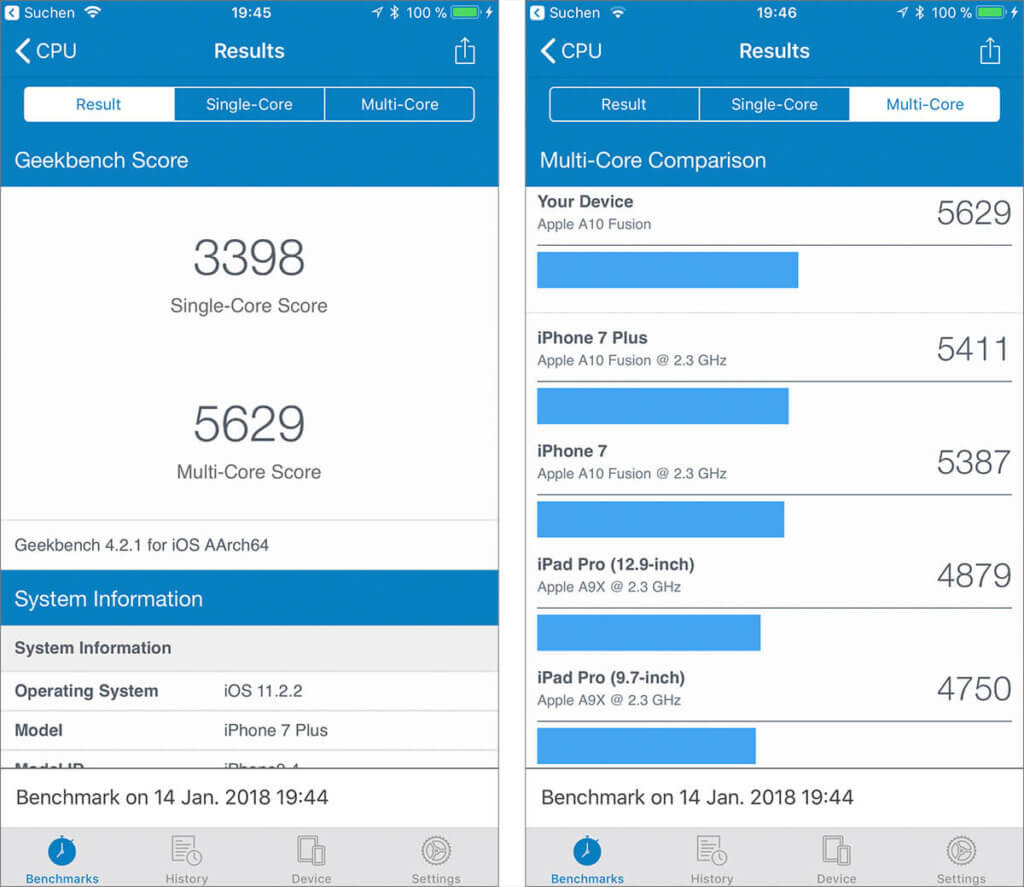 Geekbench zeigt mir in meinen Messungen keine großen Abweichungen von der CPU-Performance anderer iPhone 7 Plus Modelle. Zur Sicherheit habe ich mehrere solcher Messungen gemacht und den Durchschnitt ermittelt.