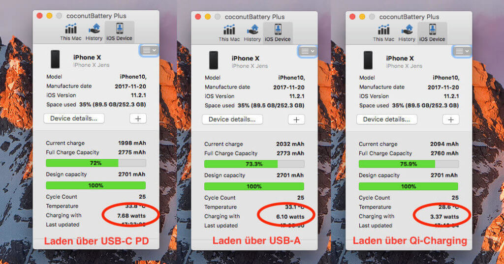 Laden des iPhone X über unterschiedliche Wege. Gemessen mit CoconutBattery: Links über den USB-C Port des tizi Turbolader mit USB Power Delivery, in der Mitte über den normalen USB-Port und rechts über meine Qi-Charging-Ladestation.