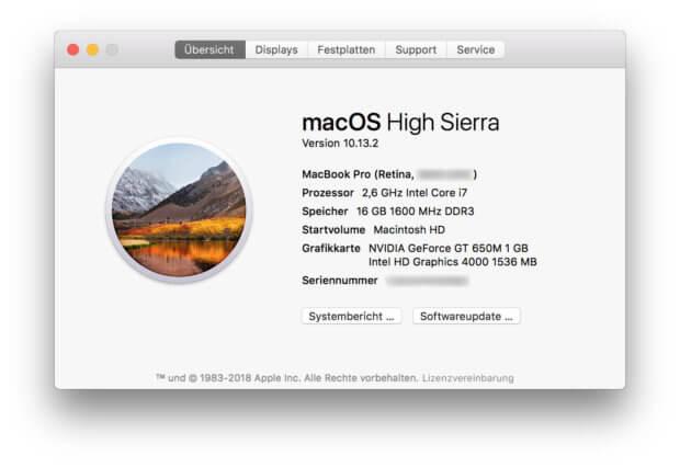 Bei mir ist macOS 10.13 High Sierra schon installiert. Wenn ihr es nicht installieren wollt und auch die Erinnerungen von Apple ausblenden wollt, dann seid ihr hier richtig.