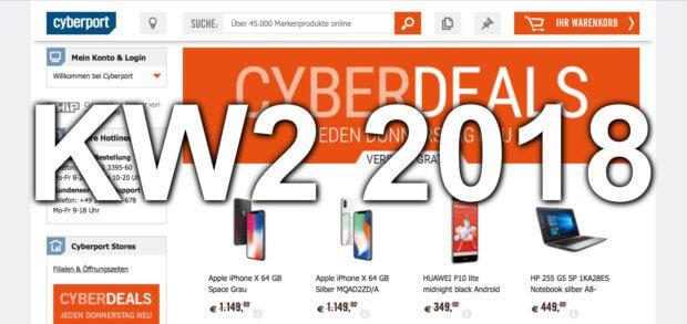 Bei den Cyberport Cyberdeals der Kalenderwochen 2 / 3 könnt ihr das iPhone X günstiger kaufen, Gaming Laptops bestellen, euch einen DeLonghi Kaffeeautomaten sichern und andere Technik-Angebote nutzen.
