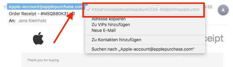 Die echte Absender-Adresse sieht man, wenn man auf die Mail-Adresse klickt.