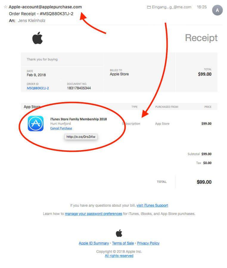 Achtung Phishing Mail Itunes Store Family Membership 2018