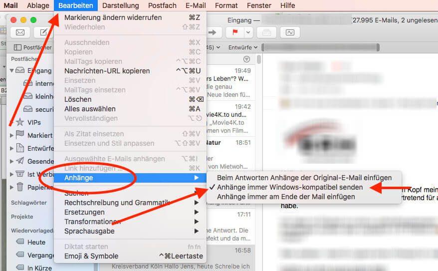 In Apple Mail ist eine Option enthalten, die das Problem mit den ATT0000x-Anhängen in Outlook und Exchange löst.