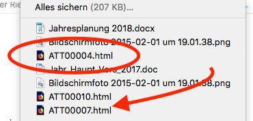 Anhänge mit dem Namen ATT00001.html sind eine Folge von Mails in denen Text und Anhänge gemischt eingebaut wurden.
