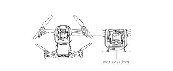 Montage des Drohnen-Kennzeichens an der DJI Mavic Air (Skizze: DJI.com).
