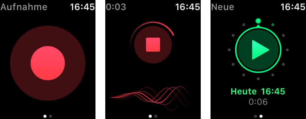 Die Watch-App ist simpel, aber äußerst praktisch, wenn man Sprachmemos ohne iPhone diktieren möchte – sortieren kann man später am iPhone oder iPad.