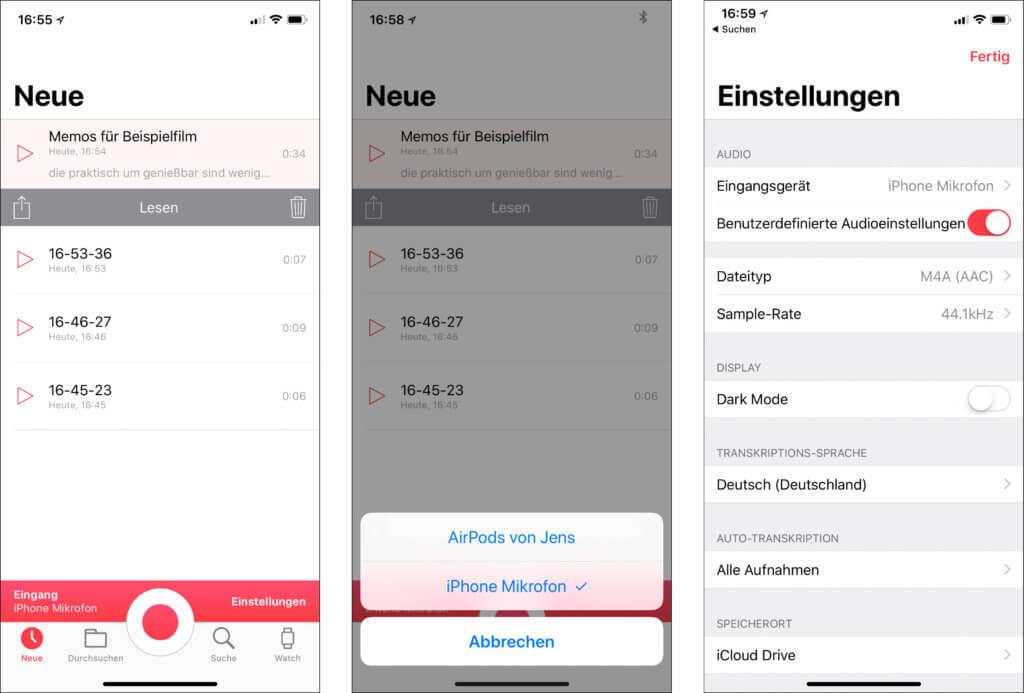 Auf der iPhone App finden sich neue Audioaufnahmen, die Auswahl der Audio-Quelle und natürlich auch der Bereich, in dem man Einstellungen wie die Samplerate und das Audioformat einstellen kann.