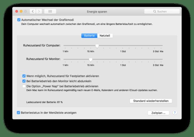 Das Menü zum Energie Sparen beim MacBook (Pro / Air) gibt euch Möglichkeiten, um Strom einzusparen und die Nutzung ohne Netzteil zu verlängern.