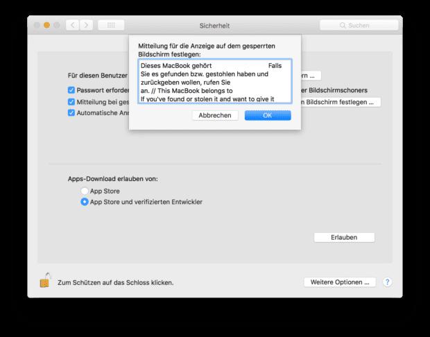 Ob Urlaub, Coworking, Konferenz oder im Büro: Auch bei MacBook und iMac sind Anmelde-Texte keine schlechte Idee.