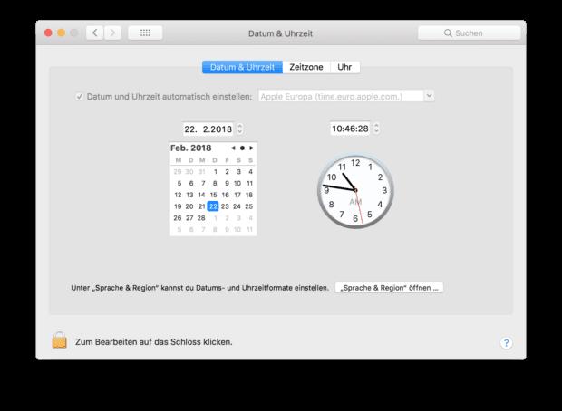 In den Systemeinstellungen des vorhandenen Systems lassen sich Datum und Uhrzeit einstellen.