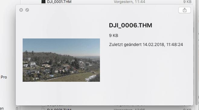Die THM-Dateien sind kleine Vorschaubilder von Videos. Der Finder zeigt die Informationen der Datei inklusive des Mini-Bildes an.