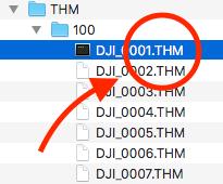 Hier auf der SD-Karte meiner Mavic Air: mehrere Dateien im Ordner THM.