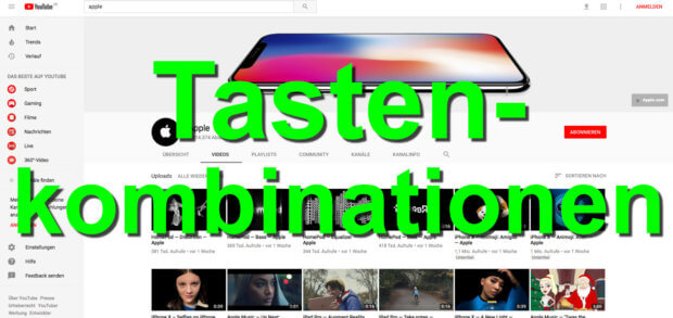 Die folgenden YouTube Tastenkombinationen helfen euch beim Navigieren im Video.