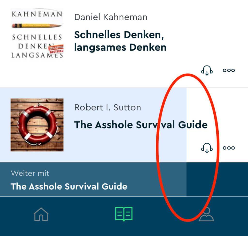 In dem unteren Bereich zeigt die Blinkist-App immer das letzte Buch an und zeigt auch bei jedem Buch den Fortschritt durch eine farbige Hinterlegung an.