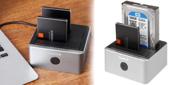 """Die Inateck FD2102 Dockingstation für zwei Festplatten von 2,5"""" oder 3,5"""" dient als Gehäuse für die USB-Verbindung mit Apple Mac / Windows PC, kann aber auch ohne Computer Klone und Backups erstellen."""