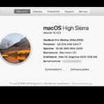 Daten zum verwendeten Apple MacBook Pro und dem System beim Laptop Kühler Test.