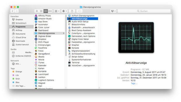 Die Apple Aktivitätsanzeige findet ihr bspw. unter Programme -> Dienstprogramme.