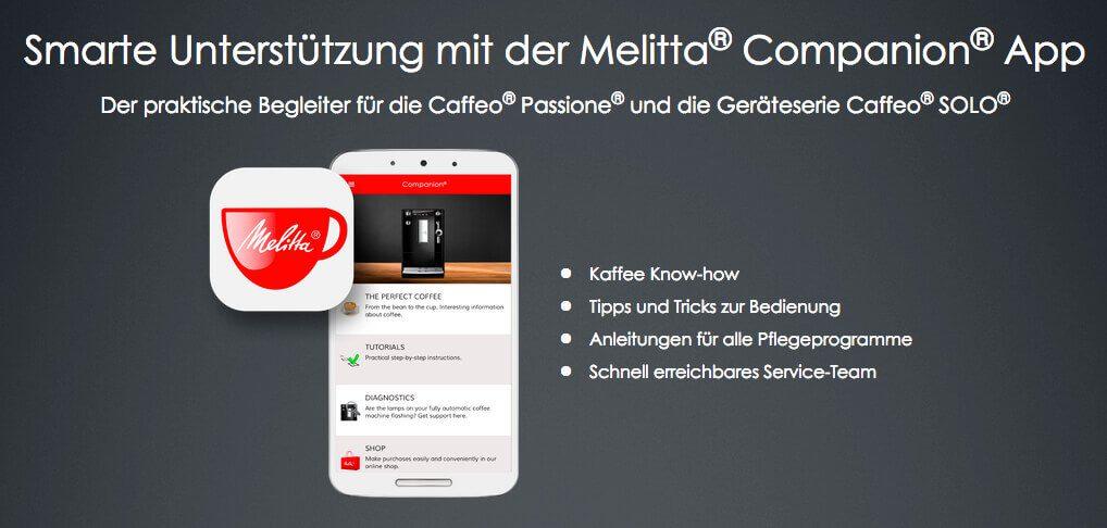 Auch Melitta bietet zur bestimmten Kaffeemaschinen-Modellen eine Companion-App an, über die man Hilfe zum Produkt, einen Shop für Ersatzteile und ähnliches findet (Grafik: Melitta).