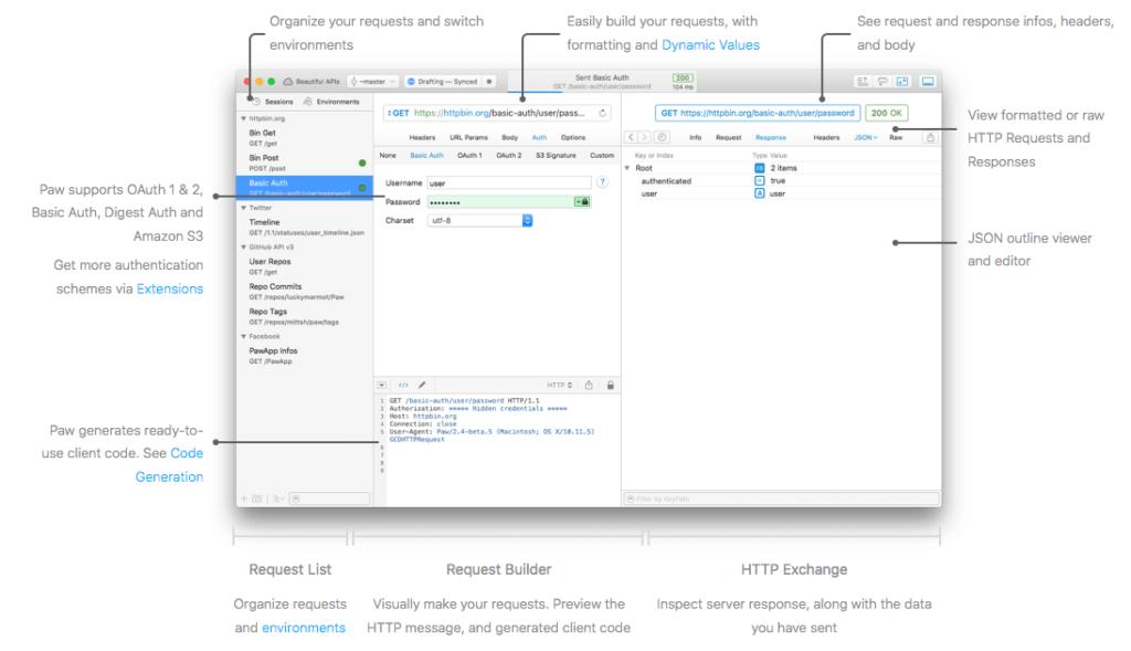 Hier seht ihr die Features, die Paw bietet, wenn man das Programm als visuellen HTTP-Client verwendet, um zum Beispiel auszuwerten, was eine API an Daten liefert.