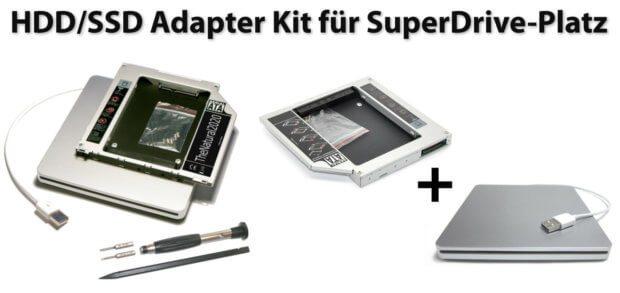 Ihr wollt im Apple Mac mini, iMac oder MacBook (Pro) das interne SuperDrive-Laufwerk gegen eine HDD oder SSD Festplatte tauschen? Dieses Kit inkl. Werkzeug hilft euch dabei!