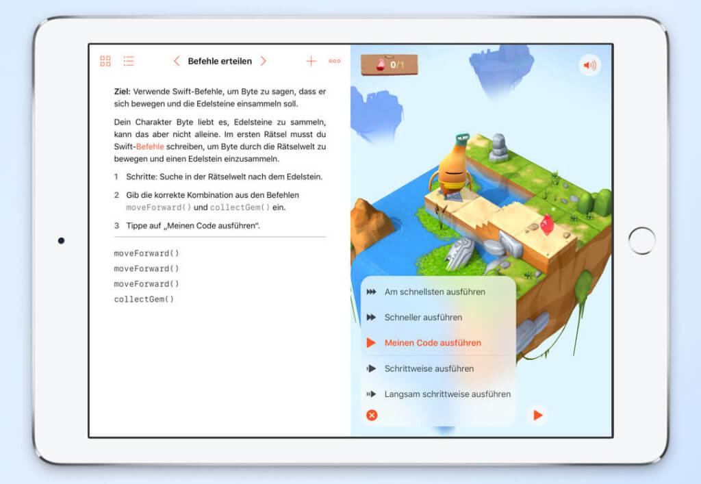 Die iPad-App Swift Playgrounds ist ein spielerischer Ansatz, um sich mit dem Thema Programmierung in Swift zu beschäftigen. Die App ist kostenlos und kann aus dem App-Store geladen werden.