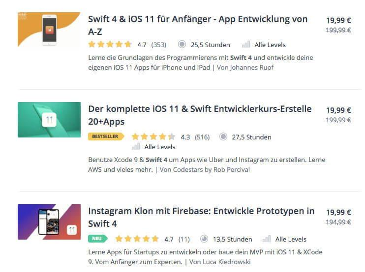 Eigentlich ist Udemy international, aber es gibt sogar zum Thema Swift zahlreiche deutsche Kurse, die die Programmierung für iPad, iPhone und Mac abdecken (Preise auf dem Screenshot können sich natürlich zwischenzeitlich verändert haben!).
