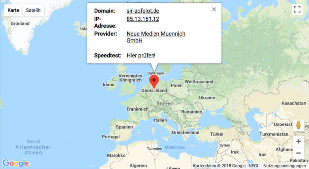Die aktuellen Daten von Sir-Apfelot.de. Nützlich ist der Service sicher auch, wenn ihr als Web-Dienstleister Kunden habt, die nicht wissen, bei welchem Provider ihre Seite eigentlich gehostet ist ;)