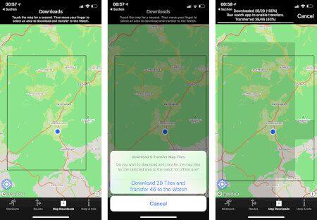 Offline Karten: Links markiert man auf der Karte, welchen Bereich man auf die Watch laden möchte.In der Mitte sieht man den Vorgang der Datenübertragung und rechts sieht man den Fortschritt: Abgedunkelte Kacheln sind schon übertragen, die helleren noch nicht.