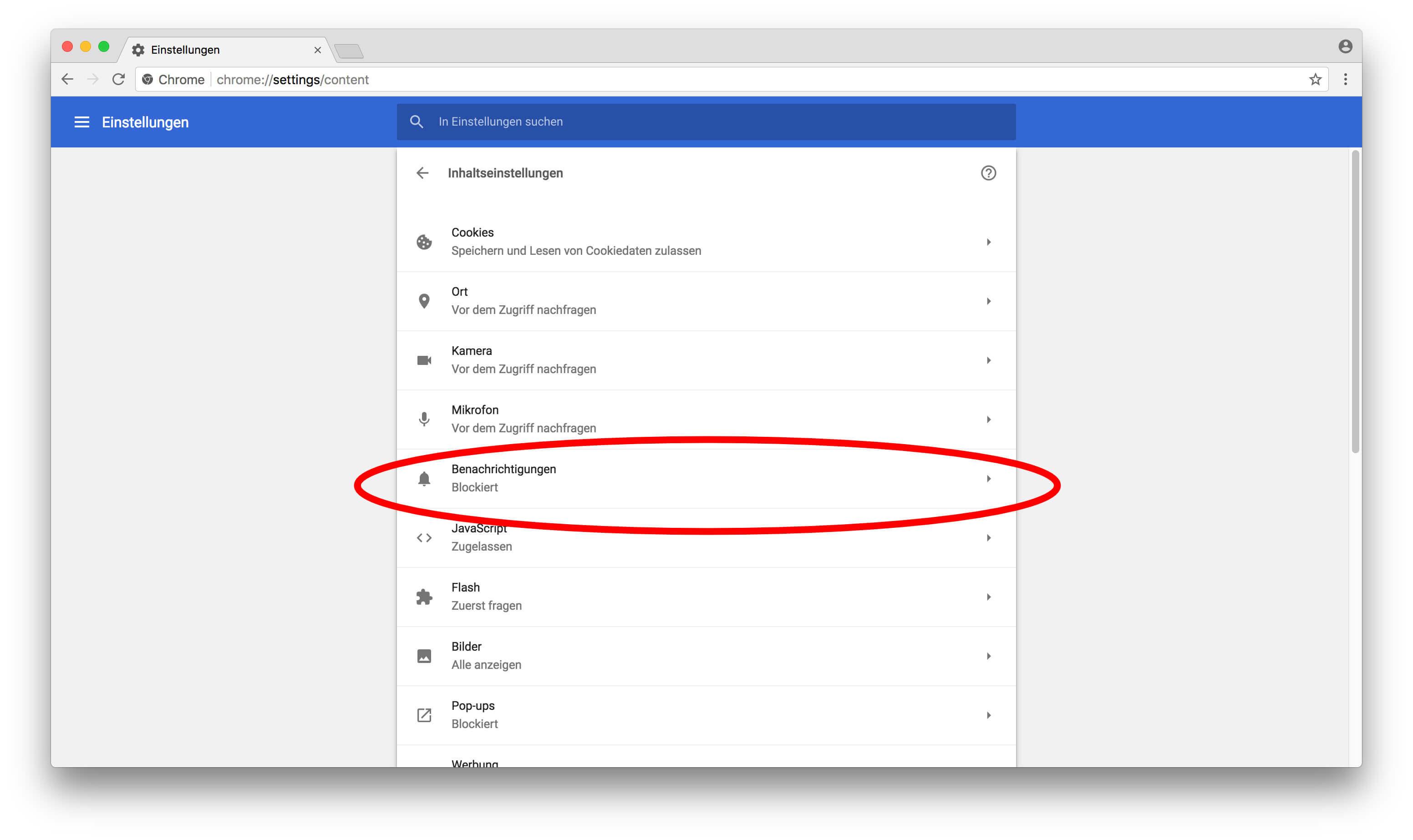 Google Chrome Benachrichtigungen