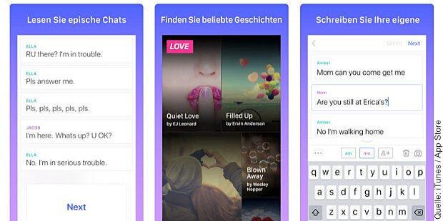 """Die HOOKED App für iPhone und Android Handys bietet spannende Geschichten als Chat-Verlauf der Protagonisten für die """"Snapchat-Generation"""" an."""