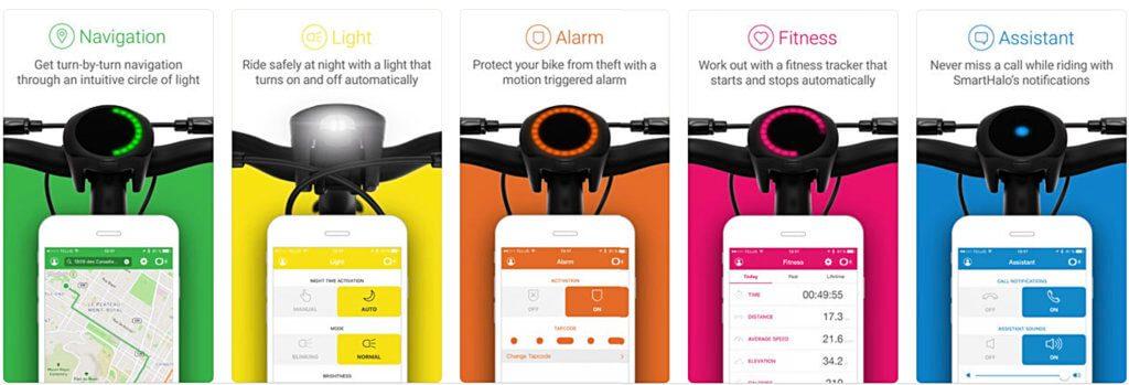 Die SmartHalo-Funktionen, wie sie für das iPhone mit der passenden iOS-App dargestellt werden.