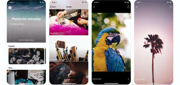 Die Unsplash App für iOS auf iPhone und iPad bringt euch lizenz- und rechtefreie Bilder für private und kommerzielle Nutzung von unterwegs. Bilder: Apple App Store / iTunes
