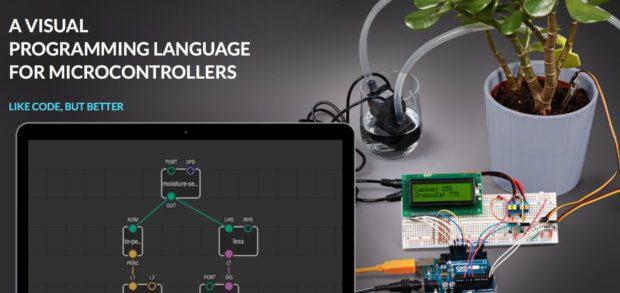 XOD bietet einfache Arduino-Programmierung per Drag and Drop sowie der Verbindung von Befehlen.