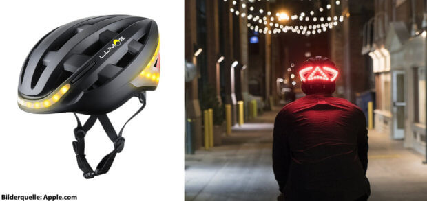 Der Lumos Smart Bike Helmet ist ein smarter Fahrradhelm mit Licht und Blinker, der mit Apple iPhone und Watch kompatibel ist und so zahlreiche Funktionen erfüllen kann.