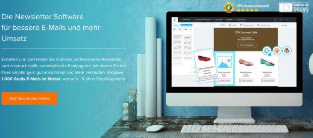Die deutsche Newsletter Software Newsletter2Go kann man bis 1.000 Mails pro Monat kostenlos testen. Was sie alles bietet, welche Abo-Pakete es gibt und weitere Infos gibt es hier.