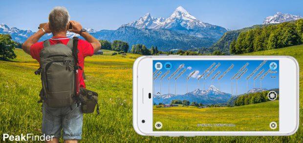 Die PeakFinder AR App für iOS auf dem Apple iPhone, iPad und iPod Touch zeigt Bergnamen auf dem Echtzeit-Bild der Kamera an - offline, weltweit und bei 350.000 Bergen! Details, Funktionen und Download gibt's hier.
