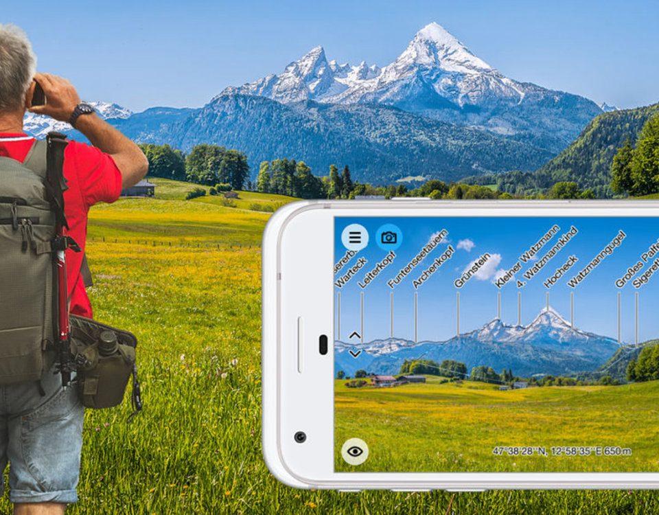 Die PeakFinder AR App für iOS auf dem Apple iPhone, iPad und iPod Touch zeigt Bergnamen auf dem Echtzeit-Bild der Kamera an - oflline, weltweit und bei 350.000 Bergen! Details, Funktionen und Download gibt's hier.
