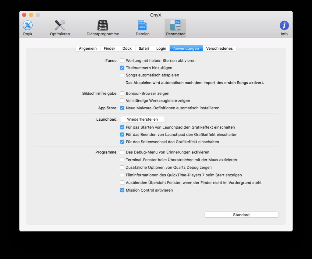 Die OnyX App von Titanium Software für Mac OS X und macOS hilft dabei, Konfigurationen vorzunehmen.
