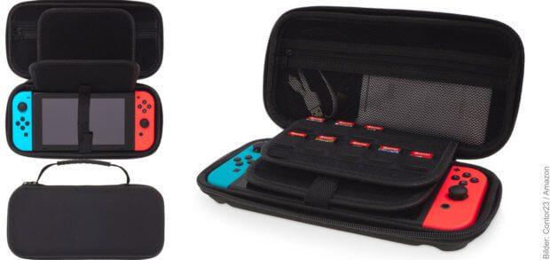 Die besonderen Merkmale der Nintendo Switch Tasche: stabile Hülle, Zubehör-Fach mit Reißverschluss, Platz für Analog-Sticks und Aussparungen für Schultertasten, Slots für 20 Spiele, Befestigung und Display-Schutz, rutschfester Tragegriff.