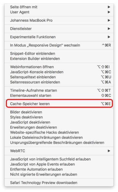 """Im Entwicklermenü die Option """"Cache-Speicher leeren"""" anklicken und damit den Browserspeicher löschen."""