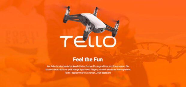 Die Ryze Tello Drohne mit DJI-Technik und Intel-CPU könnte auch DJI Tello heißen - sie ist günstig und stabil - ideal für Kinder und Jugendliche.