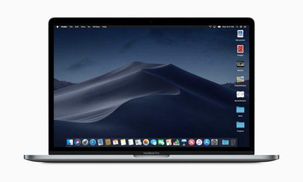 Die offizielle Vorschau auf macOS Mojave von Apple zeigt Datei-Stapel auf dem Schreibtisch und den dynamischen Desktop-Hintergrund. Weiterhin wird das Einfügen von Emoji in Mail vereinfacht.