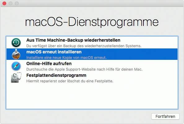 Wenn man macOS erneut über eine vorhandene Installation installiert, gehen keine Daten verloren, aber die Systemdateien werden repariert bzw. ausgetauscht. Das löst den einen oder anderen Fehler – wie auch diesen Boot-Fehler.