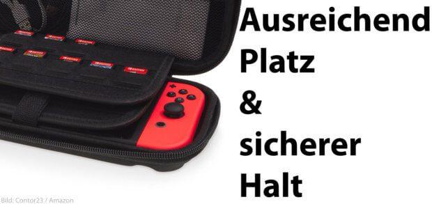 Die Nintendo Switch Hülle bietet viel Platz und dennoch sicheren Halt für Konsole, Joy Con Controller, Kabel und bis zu 20 Games. Ihr könnt ihr sie auch im Set mit einer Display-Schutzfolie kaufen.