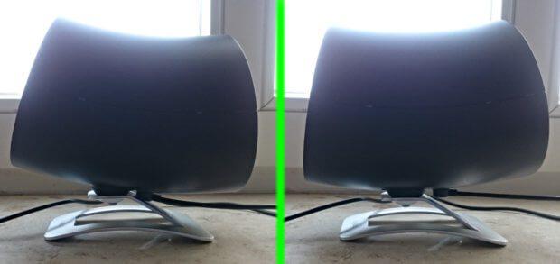 Das Gebläse kann verschieden geneigt werden, um den Luftstrom leicht nach unten, gerade und nach oben auszurichten.