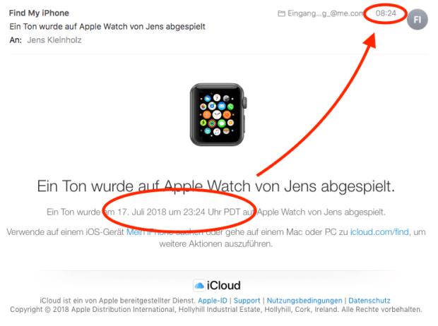 Wurde von eurem iPhone aus ein Signalton auf der Apple Watch abgespielt, erfahrt ihr dies per Mail (falls alle Geräte ebenfalls per iCloud verbunden sind).