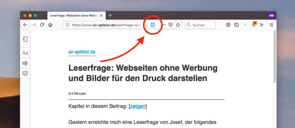 Der Lesemodus-Button ist im Firefox-Browser nach rechts gewandert. Funktioniert aber genauso gut wie vorher!