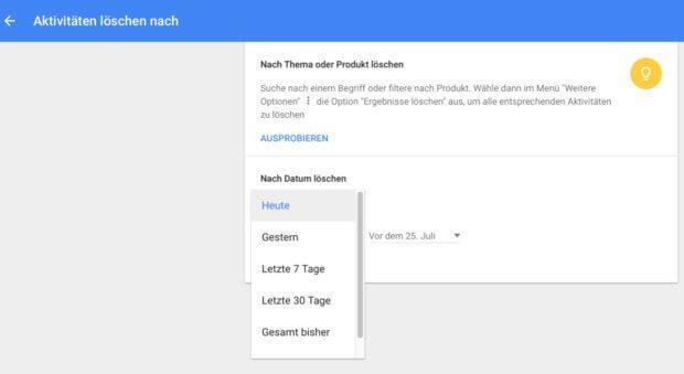 Den Google Suchverlauf löschen - das geht unter anderem im Webbrowser an Mac und PC. Die Anfragen im Google-Konto löschen geht aber auch über iOS und Android. Die Anleitungen findet ihr hier. Google-Verlauf löschen