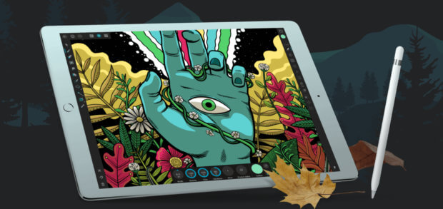 Die Affinity Designer App für iOS 11 und neuer kann auf dem Apple iPad Pro auch mit den Funktionen des Apple Pencil genutzt werden.