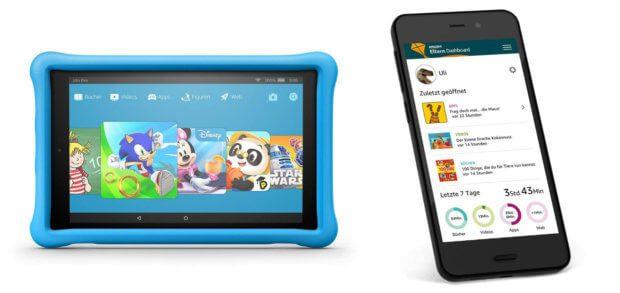 Das Amazon Fire HD 10 Kids Edition ist ein Kinder-Tablet mit kindergerechtem Android-System, FreeTime Apps, Spielen, Videos, Filmen und mehr. Eltern können die Nutzung per Smartphone-App einsehen.